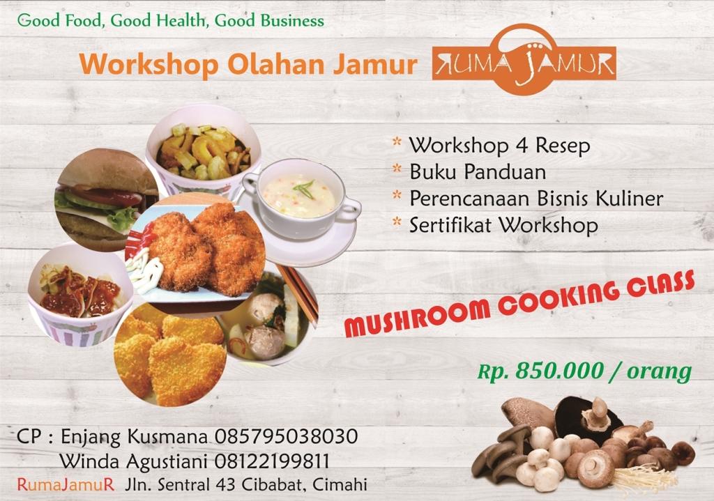 brosur pelatihan kuliner jamur bersama rumajamur