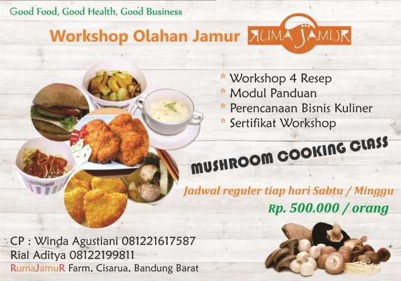 brosur pelatihan memasak jamur.frozen food.cooking class.rumajamur.workshop kuliner jamur